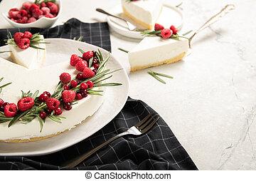 Homemade raspberry cheesecake on a plate
