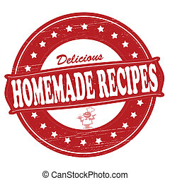 Homemade recipes - Stamp with text homemade recipes inside, ...