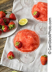 Homemade Red Frozen Strawberry Margarita