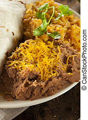 Homemade Refried Beans with Cheese and Rice