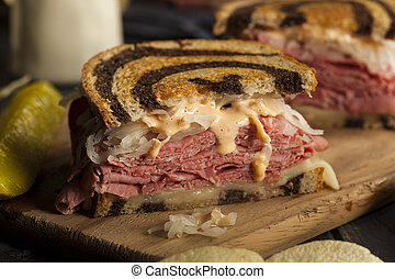Homemade Reuben Sandwich with Corned Beef and Sauerkraut