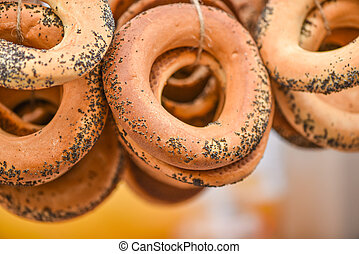 Homemade ring-shaped rolls in handicraft mart Kaziukas, Vilnius, Lithuania