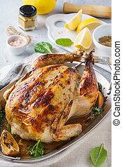 Homemade roasted stuffed Thanksgiving day turkey or chicken.