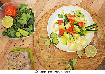 Homemade salad, cooking at home