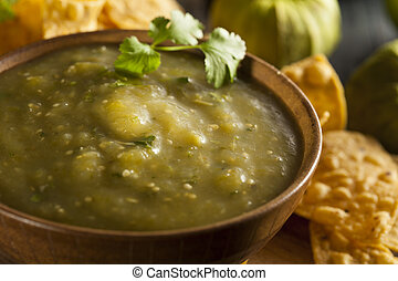 Homemade Salsa Verde with Cilantro and Tortilla Chips