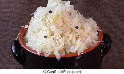 Homemade sauerkraut stew, in a large pot