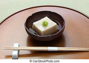 homemade sesame tofu, japanese traditional vegan cuisine -...