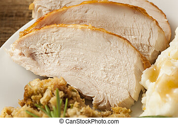 Homemade Sliced Turkey Breast for Thanksgiving Dinner