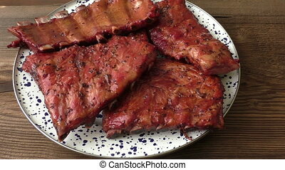 Homemade smoked barbecue pork ribs ready to eat