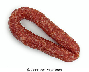 Homemade smoked sausage. Isolated on a white background, close-up, top view.