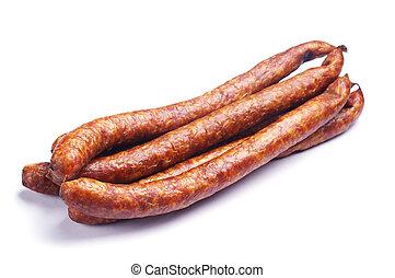 Homemade smoked sausage on white