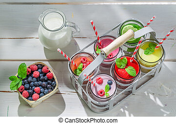 Homemade smoothie with fresh fruits
