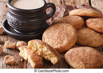 Homemade Snickerdoodle cookies close-up on the table. ...