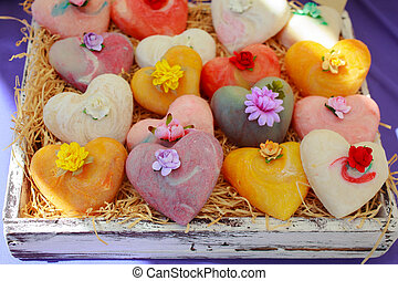 Homemade soaps - View of homemade soaps in the street market