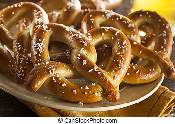 Homemade Soft Pretzels with Salt Ready to Eat