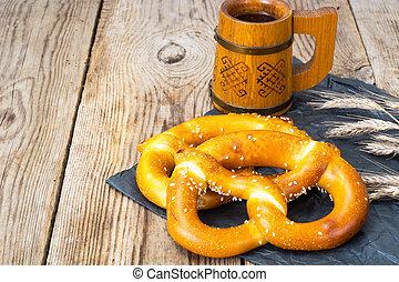 Homemade soft pretzels with sesame seeds and sea salt