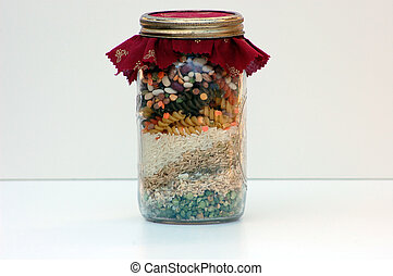 Homemade Soup in A Jar Against A White Background - Homemade...