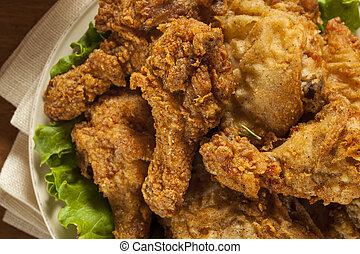 Homemade Southern Fried Chicken with Biscuits and Mashed...