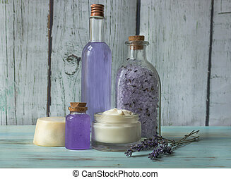 Homemade spa with natural ingredients, Lavender