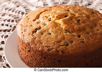 Homemade sponge cake with chocolate chips close-up. ...