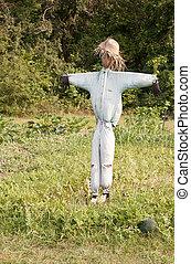 scarecrow - homemade straw scarecrow guarding a melon patch