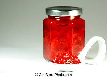 homemade strawberry jam jar with wh