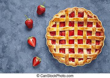 Homemade strawberry pie tart cake sweet baked pastry food