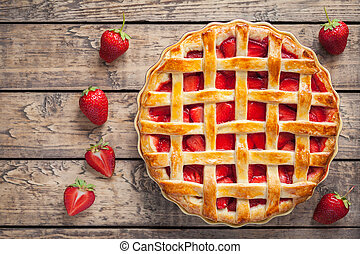 Homemade strawberry tart pie cake traditional sweet pastry food