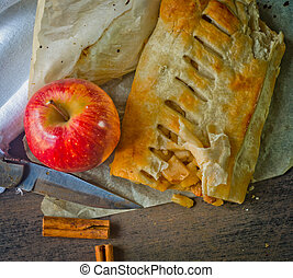 homemade strudel cake with apples and cinnamon