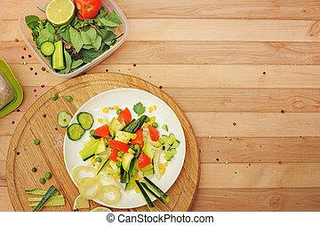 Homemade summer salad, cooking at home