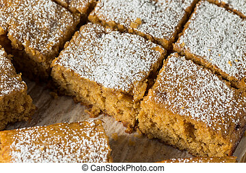 Homemade Sweet Applesauce Cake with Powdered Sugar