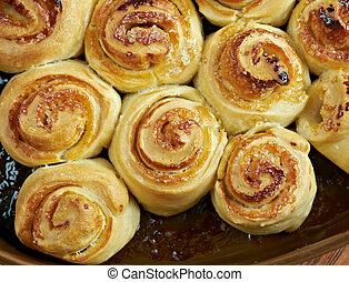homemade sweet buns -  homemade pie -  sweet buns close up
