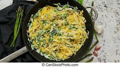 Homemade tagliatelle pasta with ricotta cheese creamy sauce ...