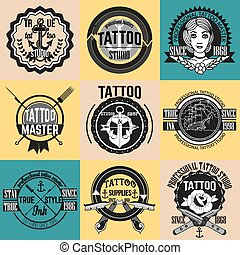 Homemade tattoo logos and badges vector set