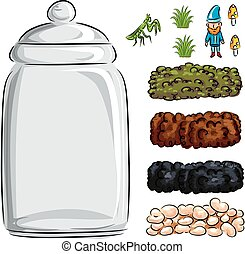 Illustration of a Homemade Terrarium Made from a Glass Jar and Layers of Sod, Mud, Peat, and Pebbles