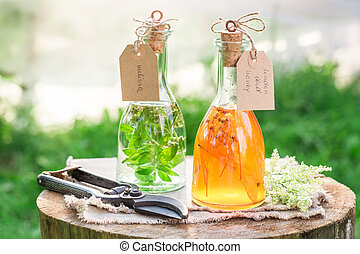 Homemade tincture as natural medicine in summer