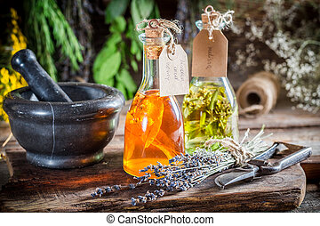 Homemade tincture in bottles as an alternative cure