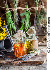 Homemade tincture in bottles as homemade cure