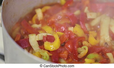 Homemade tomato and pepper stew Lecho (Lesco) vegetable ragout
