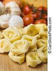Homemade tortellini pasta