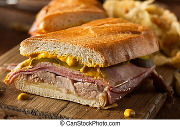Homemade Traditional Cuban Sandwiches with Ham Pork and...