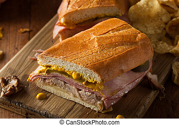 Homemade Traditional Cuban Sandwiches with Ham Pork and ...