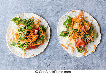 Homemade Vegetarian Tostadas with Salad and Polished Carrot...