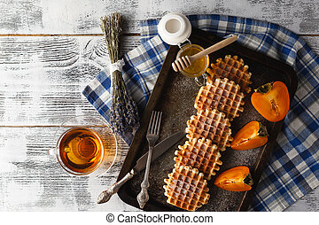 Homemade wafers on plate for breakfast