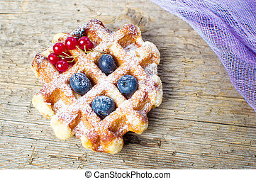 Homemade waffle with fresh berry fruit