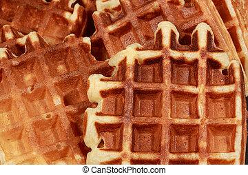 homemade waffles - closeup on fresh homemade golden waffles