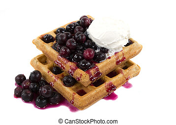 Homemade Waffles - Homemade whole wheat waffles with fresh...
