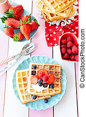 Homemade waffles with fresh fruits