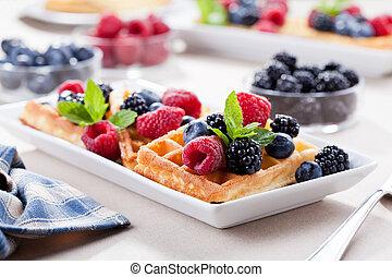 Homemade Waffles With Fresh Organic Fruits