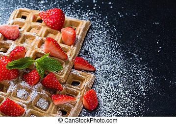 Homemade Waffles with fresh Strawberries